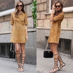 (Zara) Camel Suede Mini Dress